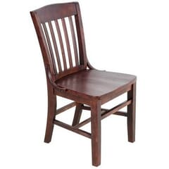 Solid Wood Schoolhouse Restaurant Dining Chair in Dark Mahogany