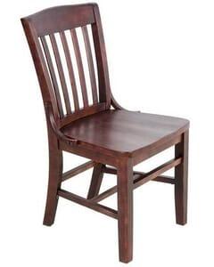 Solid Wood Schoolhouse Restaurant Chair in Dark Mahogany