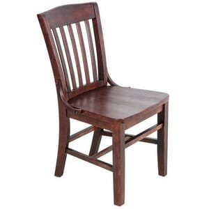Dark Mahogany Schoolhouse Chair with Solid Wood Saddle Seat