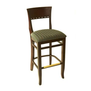 Walnut Wood Eco Side Bar Stool with Upholstered Seat (side)