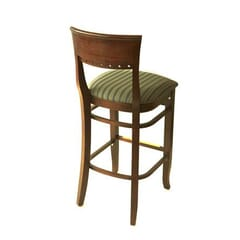 Walnut Wood Eco Side Bar Stool with Upholstered Seat