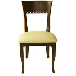 Walnut Wood Eco Side Chair with Upholstered Seat (front)