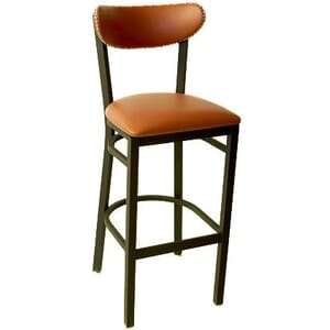 Fully Upholstered Kidney Shaped Metal Commercial Bar Stool with Nailhead Trim (front)