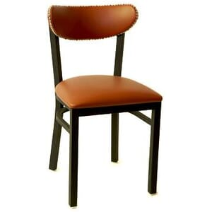 Fully Upholstered Kidney Shaped Metal Commercial Chair with Nailhead Trim (front)