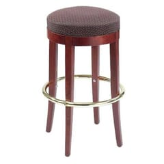 Backless Restaurant Barstool with Upholstered Round Seat in Dark Mahogany