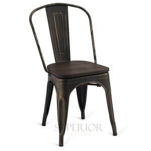 Aged Copper Steel Eiffel Restaurant Chair with Arched Metal Backrest and Walnut Solid Wood Seat