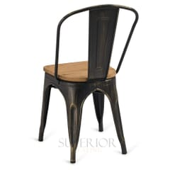 Aged Copper Steel Eiffel Restaurant Chair with Arched Metal Backrest