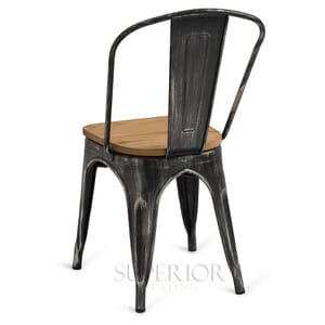 Brushed Silver Steel Eiffel Restaurant Chair with Arched Metal Backrest
