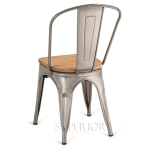 Distressed Clear Steel Eiffel Restaurant Chair with Arched Metal Backrest