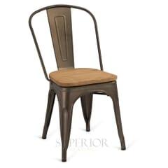 Matte Bronze Steel Eiffel Restaurant Chair with Arched Metal Backrest