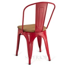 Red Steel Eiffel Restaurant Chair with Arched Metal Backrest