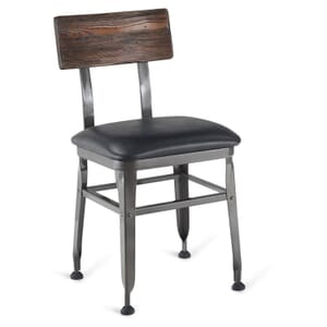 Industrial Wood-Back Steel Restaurant Chair with Upholstered Seat