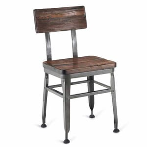 Industrial Wood-Back Steel Restaurant Chair with Solid Ash Wood Seat