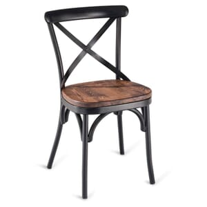 Antique-Look Black Metal Cross-Back Commercial Chair with Premium Solid Ashwood Seat