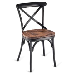 Antique-Look Black Metal Cross-Back Commercial Chair