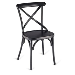 Antique-Look Black Metal Cross-Back Commercial Chair with Metal Seat