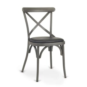 French Grey Metal Cross-Back Commercial Chair with Upholstered Seat
