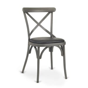 French Grey Metal Cross-Back Commercial Chair