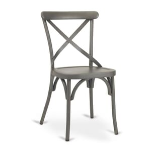 French Grey Metal Cross-Back Commercial Chair with Metal Seat