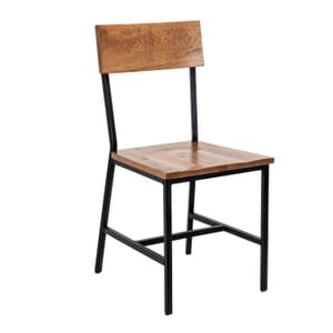 American Red Oak Wood Industrial Steel Frame Restaurant Chair in Walnut (Front)