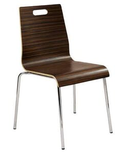 Mocha Stackable Metal Chair with Plywood Seat and Back