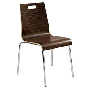 Stackable Metal Chair with Plywood Seat and Back in Mocha