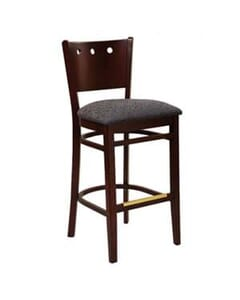 Dark Mahogany Wood Lisbon Side Bar Stool with Upholstered Seat (front)