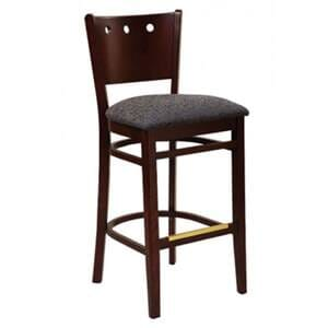 Dark Mahogany Wood Lisbon Side Bar Stool with Upholstered Seat (front)