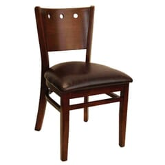 Dark Mahogany Wood Lisbon Side Chair with Upholstered Seat