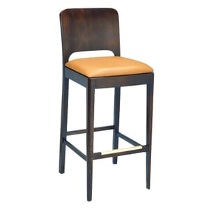Walnut Wood Collin Commercial Bar Stool with Veneer Back and Upholstered Seat (front)