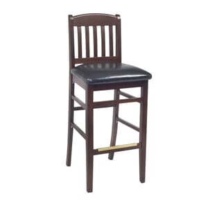 Dark Mahogany Wood Bulldog Commercial Bar Stool with Upholstered Seat (front)