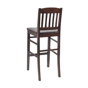 Solid Wood Bull Dog Restaurant Bar Stool in Walnut