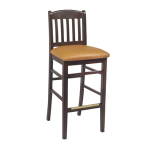 Walnut Wood Bulldog Commercial Bar Stool with Upholstered Seat (front)