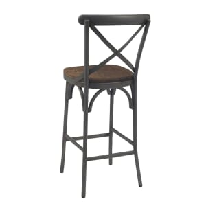 French Grey Metal Cross-Back Commercial Bar Stool