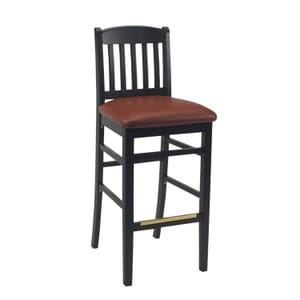Black Wood Bulldog Commercial Bar Stool with Upholstered Seat (front)