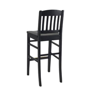 Solid Wood Bull Dog Restaurant Bar Stool in Black