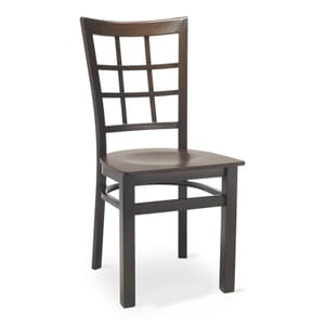Walnut Steel Window-Back Restaurant Chair with Veneer Seat