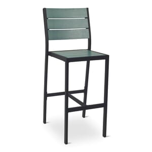 Synthetic Green Wood Outdoor Bar Stool with Black Frame