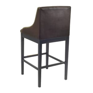 Black Wood Bentley Restaurant Chair with Full Brown Vinyl Upholstery