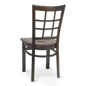 Walnut Steel Window-Back Restaurant Chair