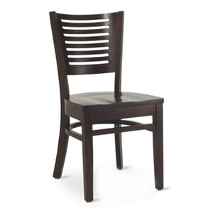 Narrow-Slat Back Commercial Wood Chair with Solid Beechwood Seat in Walnut (Front)