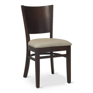 Walnut Wood Contempo Commercial Chair with Upholstered Seat (Front)