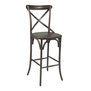 Antique Walnut Wood Cross-Back Commercial Bar Stool (front)