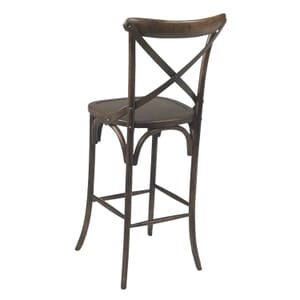 Antique Walnut Wood Cross-Back Commercial Bar Stool