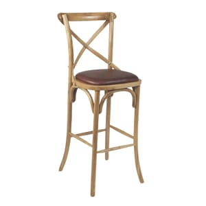 Natural Oak Wood Cross-Back Commercial Bar Stool with Upholstered Seat (front)