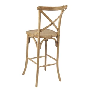 Natural Oak Wood Cross-Back Commercial Bar Stool