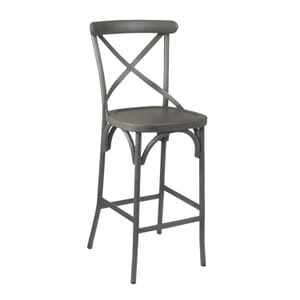 French Grey Metal Cross-Back Commercial Bar Stool with Metal Seat (front)