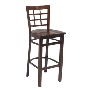 Walnut Steel Window-Back Restaurant Bar Stool with Solid Beechwood Seat (front)