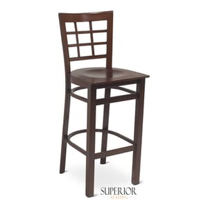 Walnut Steel Window-Back Restaurant Bar Stool with Veneer Seat