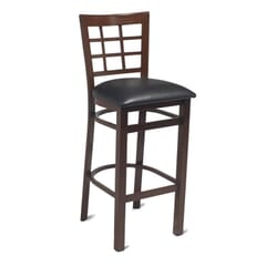 Walnut Steel Window-Back Restaurant Bar Stool